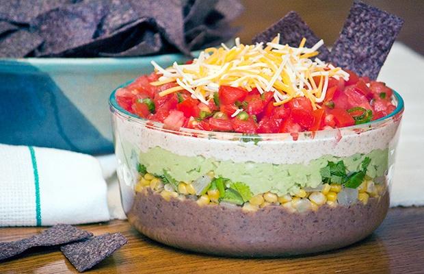 Healthy Super Bowl Snacks: 5 Layer Dip Recipe