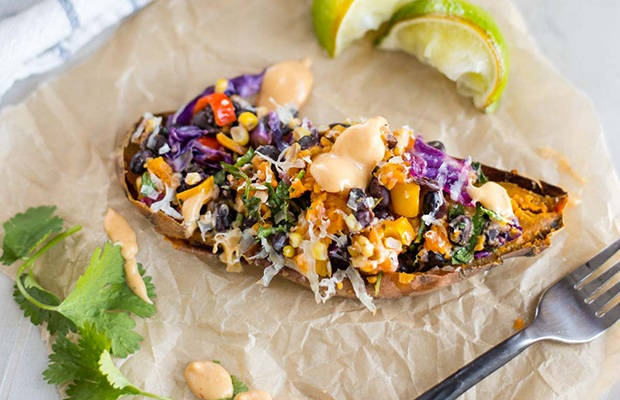 Healthy Super Bowl Snacks: Chipotle Stuffed Sweet Potato Recipe
