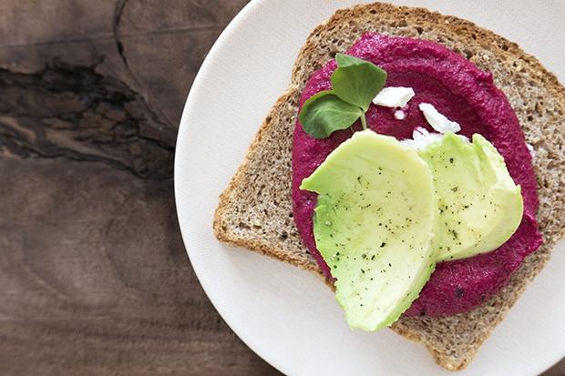 Ezekiel Toast: Beet Hummus