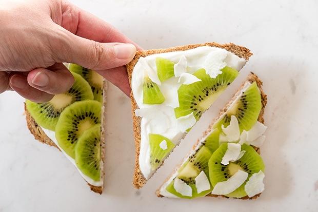 Ezekiel Toast: Kiwi and Coconut with Greek Yogurt