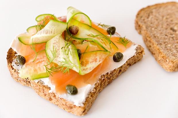 Ezekiel Toast: Salmon and Cucumber