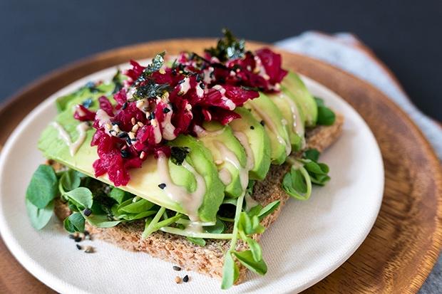 Ezekiel Toast: Avocado with Beet Kraut