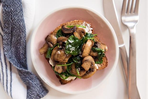 Ezekiel Toast: Mushrooms and Spinach